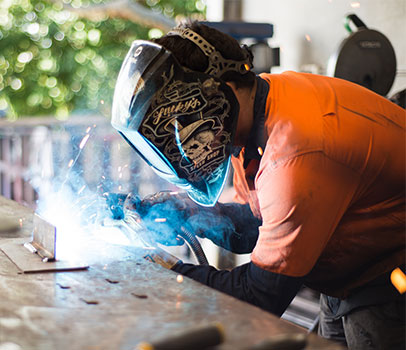One of our apprentices welding on-site